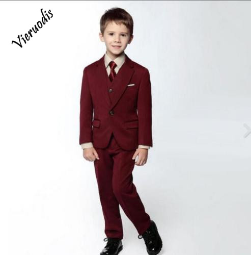 102-1          Slim Boy's Suits Red Formal Flower Boys Wedding Tuxedo Page Boy Party Prom Suits