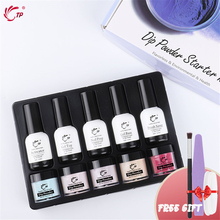 TP Dip Powder System Set Kit Of Starter French Manicure Base Top Coat Activator Powder Glitter Nail Art Professional Salon DIY