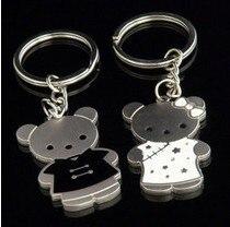Couple key chain black-and-white cheongsam bear couple key chain accessories logo