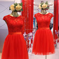 A Line Cap Sleeve French Lace Tulle Short Red Bridesmaid Dress vestido de madrinha