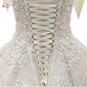 Image 4 - Waulizane V Yaka Of 3d Çiçekler Bir Çizgi düğün elbisesi Zarif Boncuk Etek Dantel Up gelinlik