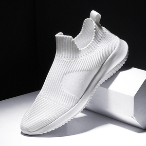 Solid White Fashion Knitting Casual Shoes Men Super Light Breathable Stretch Socks Sneakers Slip On Tenis Masculino Black(China)