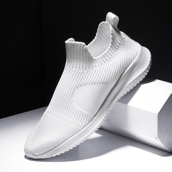 Solid White Fashion Knitting Casual Shoes Men Super Light Breathable Stretch Socks Sneakers Slip On Tenis Masculino Black