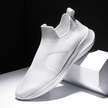 Solid White Fashion Knitting Casual Shoes Men Super Light Br