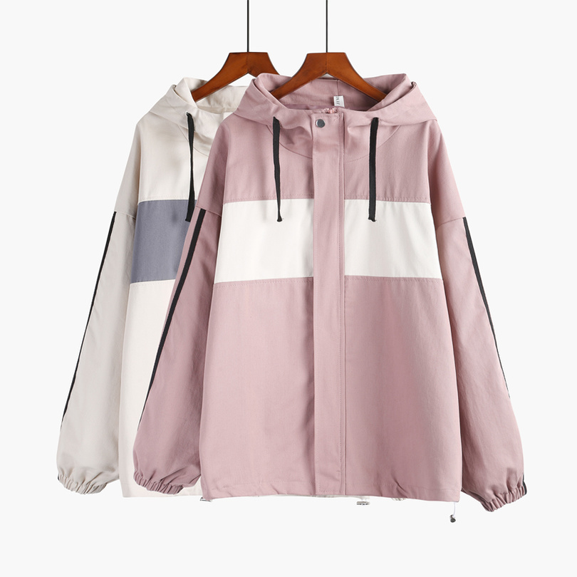 TYHRU Women Windbreaker   Jacket   Female Hit Color Patchwork Hooded   Basic     Jackets   Color Block Coats for Women
