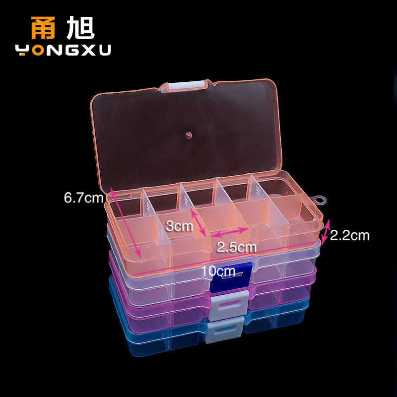 10 Grids Adjustable Transparent Plastic Storage Box for Small Component Jewelry Tool Box Bead Pills Organizer Nail Art Tip Case
