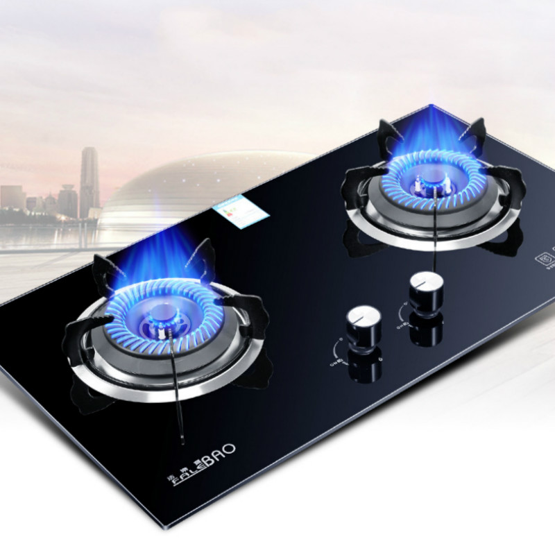 Embedded Gas Cooktop Stove Gas Liquefied Fire Household Double Stove Tempered Glass Dual Stove Large Catering Equipment