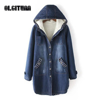 OLGITUM New 2018 Autumn and Winter Women Korean Thick Denim Coat large size Long Velvet Cotton Quilted Hooded Denim Jacket
