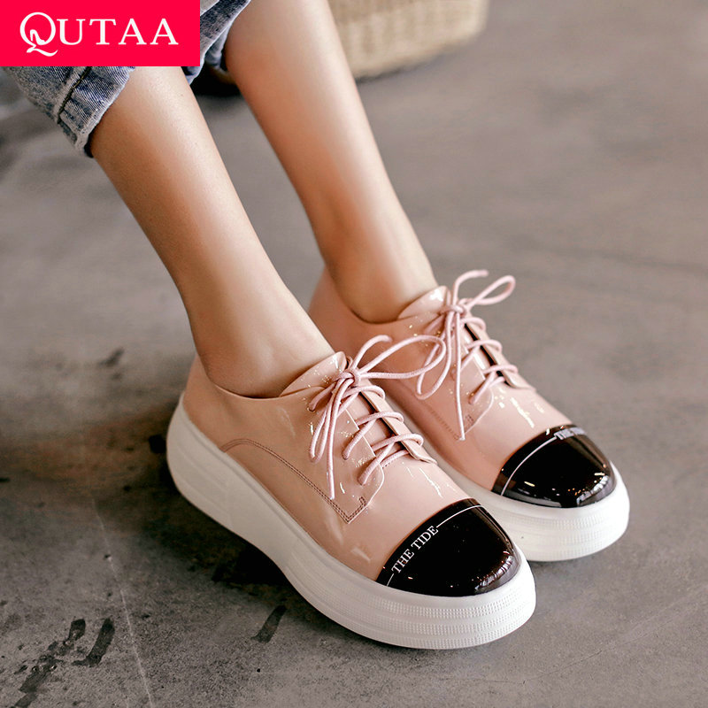 QUTAA 2020 New Shoes Cow Leather PU Patchwork Slip on Wedges Heel Women Shoes Fashion Spring