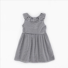 3-10 year old girl summer strap princess dress sleeveless striped dress girls cotton ruffled backless bow dress
