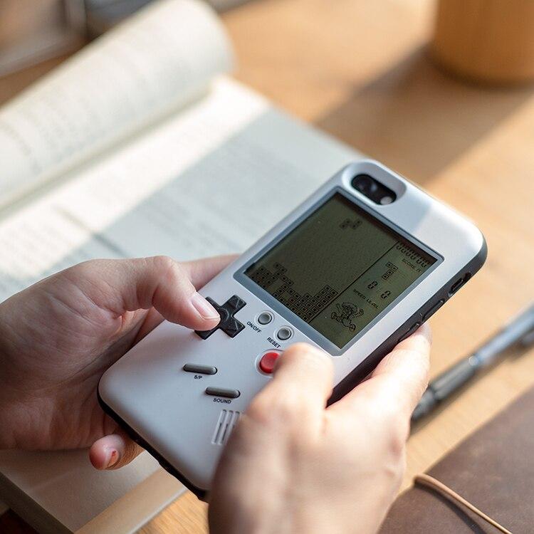 MLR GB Gameboy Tetris Téléphone Cas pour iPhone 6 6 s 7 7 plus 8 plus Jouer Jeu Blokus Console housse de Protection Cadeau