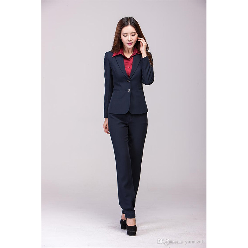 Jacket+Pants New Navy Womens Business Suits Slim Female Office Uniform Formal Work Wear Single Breasted 2 Piece Sets Custom Made