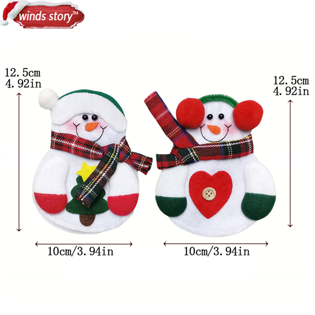 Christmas Decorations Snowman Kitchen Tableware Holder bag 12pcs Party gift Xmas ornament Christmas decorations for home table 5