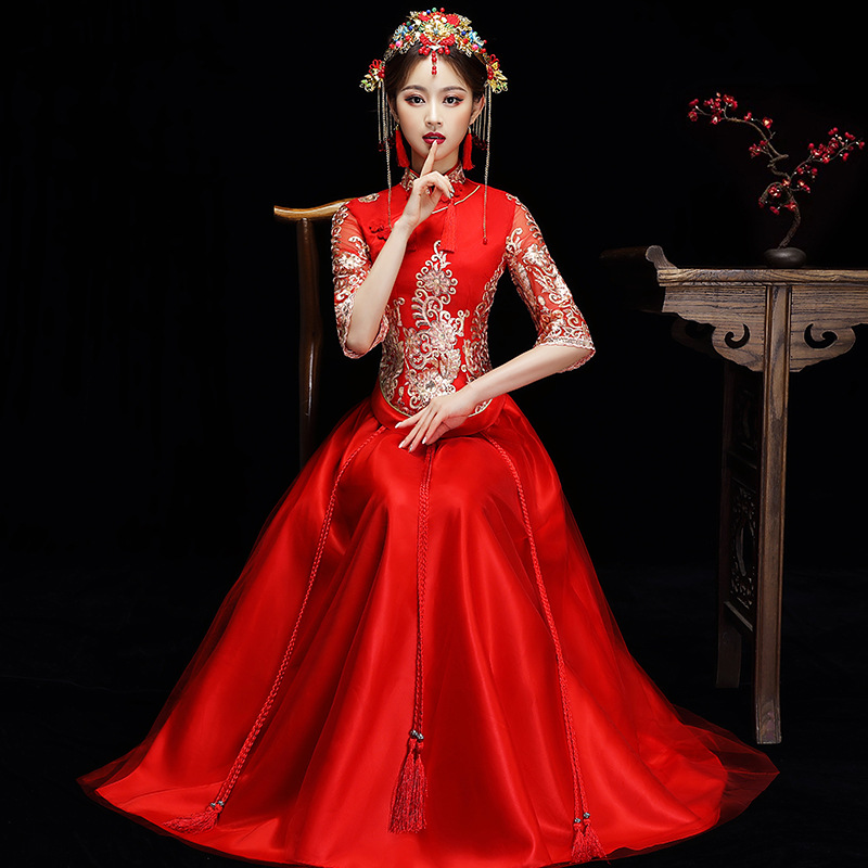 Red Marriage Dress Suit Elegant Mandarin Collar Qipao Oriental Chinese Lady Emobroidery Flower Cheongsam Evening Gowns