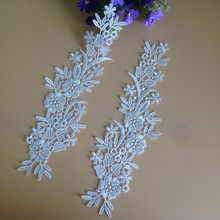 2Pieces Pure White Lace Applique Flower Collar Embroidered Trim DIY Craft For Wedding Dress