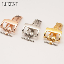 LUKENI Stainless Steel 18MM 20MM Silver Rose Gold Development Folding Clasp Butterfly Buckle For AP With Logo Three Color