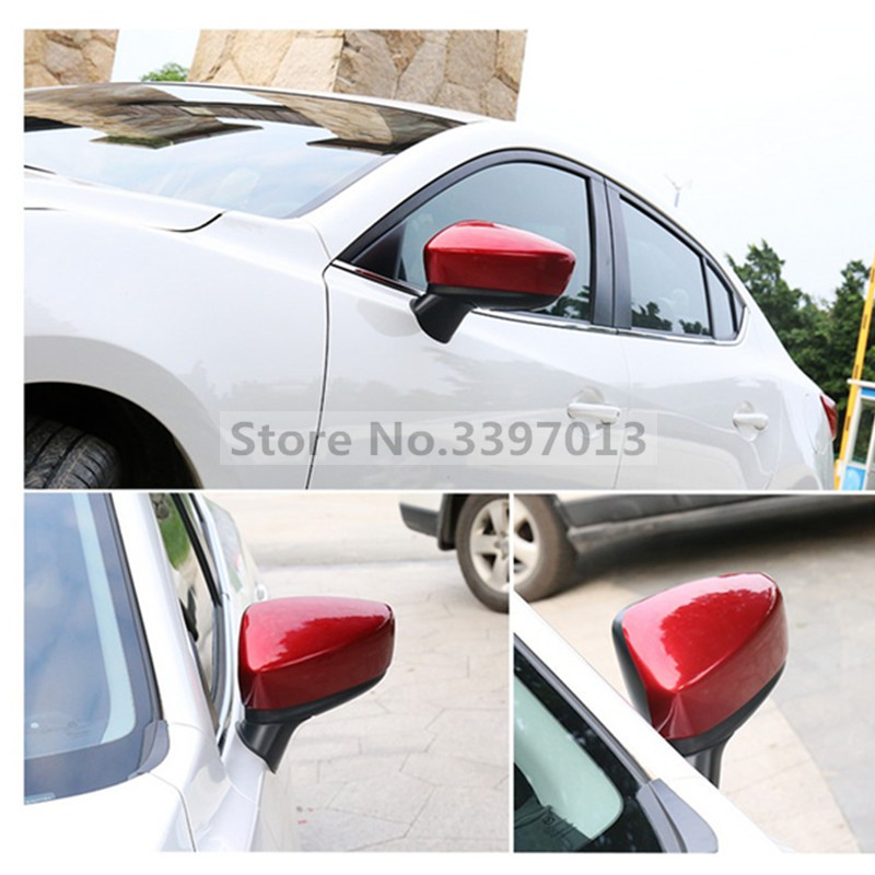 ABS Chrome Rearview Mirrors Cover Side Door Rearview Mirrors Cover Trim 2P Set For Mazda 3