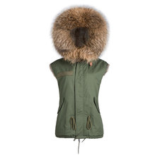 Faux rabbit fur brown Mr short jacket sleeveless with big raccoon collar fall coat