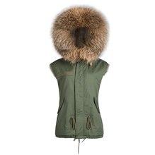 Faux rabbit fur brown Mr short jacket sleeveless with big raccoon collar fall coat