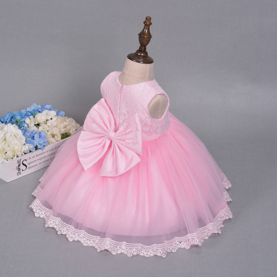 Girl Lace dress summer 2017 big bow Bridesmaid Floral Wedding Party ...