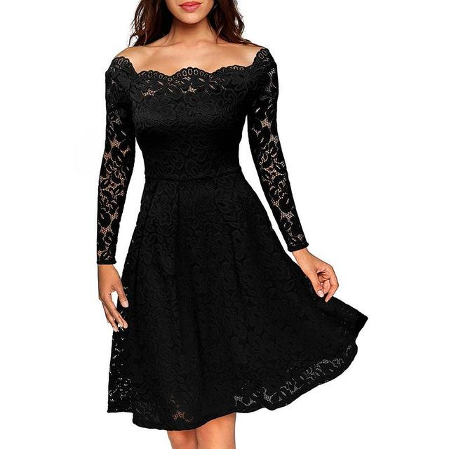 Boat Neck Cocktail Swing Dress Black Long Sleeve Floral Lace Knee