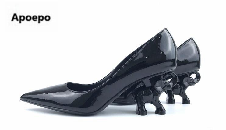 Apoepo design brand ladies shoes black beige Patent leather pumps 8 cm high heels shoes Elephant strange style pumps 2018 newest fashion women s pumps with strange heels and patent leather design