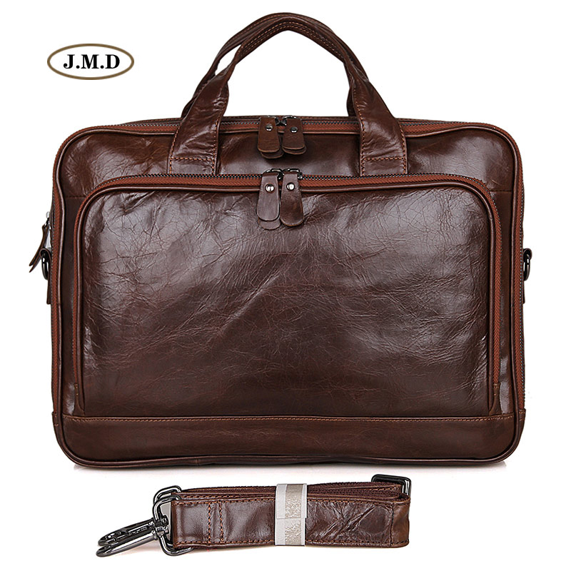 Augus New Arrivals Genuine Cow Leather Brown Color Fashion Design Multifunction Business Card Slots Laptop Bag Handbag 7005Q
