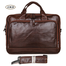 J.M.D New Arrivals Genuine Cow Leather Brown Color Fashion Design Multifunction Business Card Slots Laptop Bag Handbag 7005Q