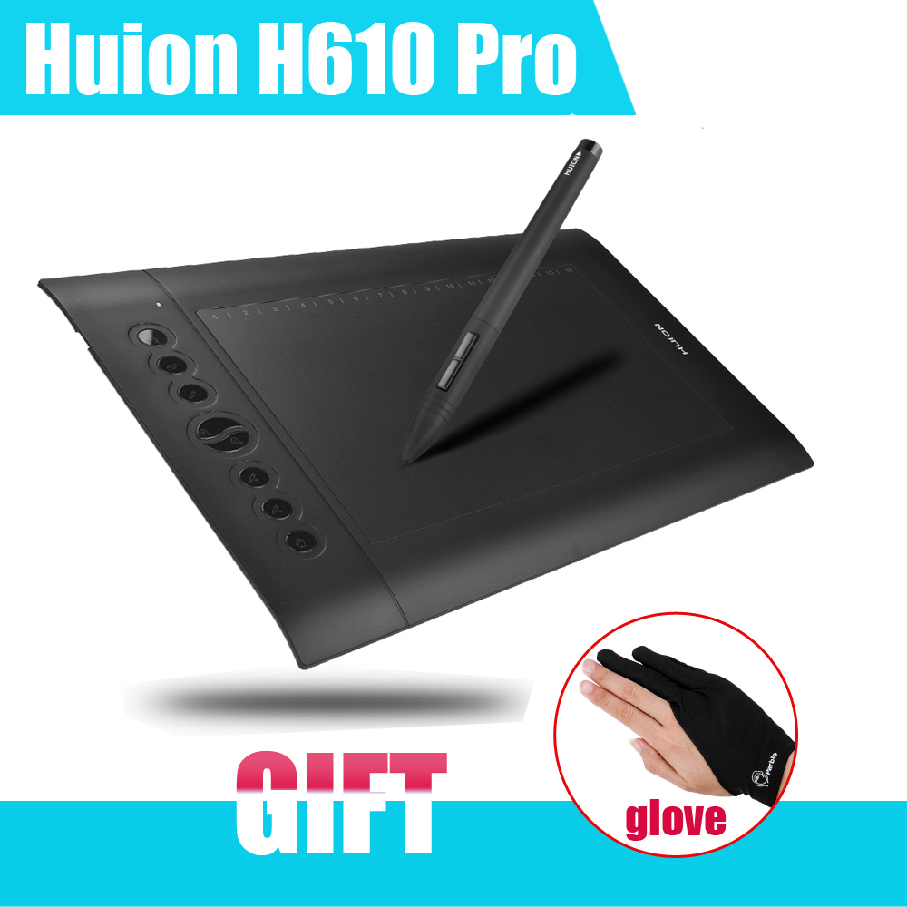 Original Huion H610 Pro 10x 6.25 Art Graphics Drawing Tablet 5080 LPI Resolution+Rechargeable Pen +Anti-fouling Glove as Gift huion h610 8 expresskey usb graphic pen tablet black