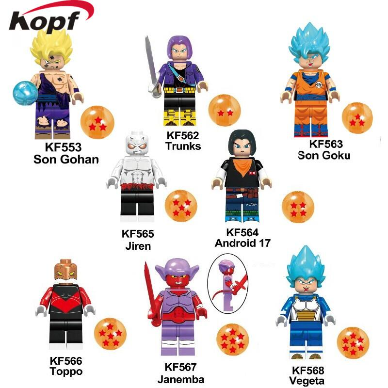 KF6045 Building Blocks Dragon Ball Son Gohan Trunks Janemba Vegeta Bricks Dolls Collection Action Figures For Children Gift Toys