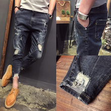 2017 Summer new arrival    fashion teenage vintage retro finishing hole jeans skinny pants male