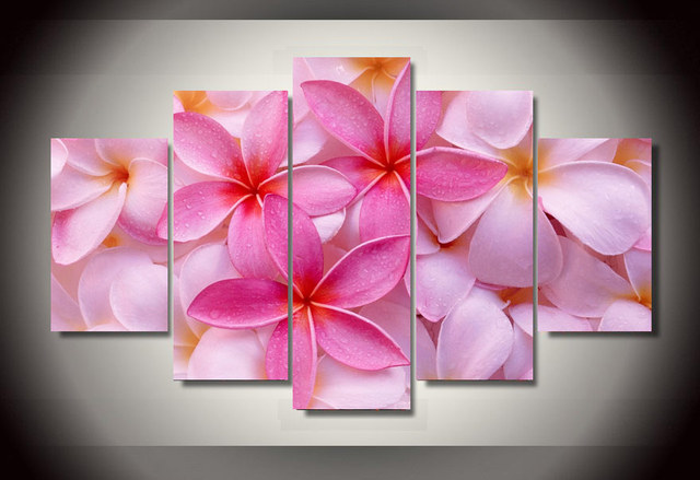 5 Panel HD Modern Printed tropical plumeria flower Group Painting ...