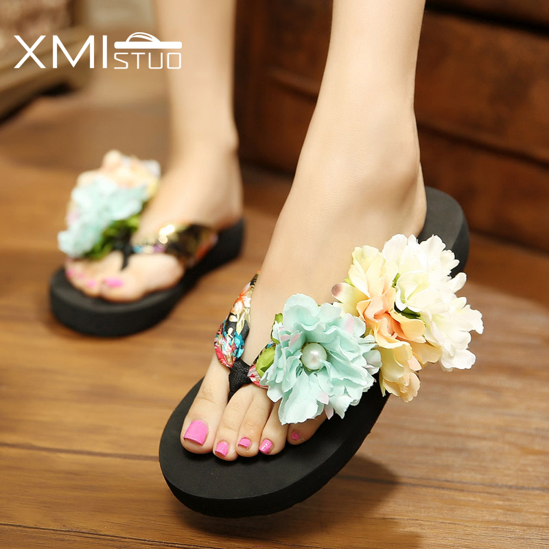 c4b49fa1263 XMISTUO Summer Women Beach Slippers Bohemia Soft Slides 3CM Low heeled  Korean House Slippers Girls Flower Sandals 2 Color 7017-in Slippers from  Shoes on ...