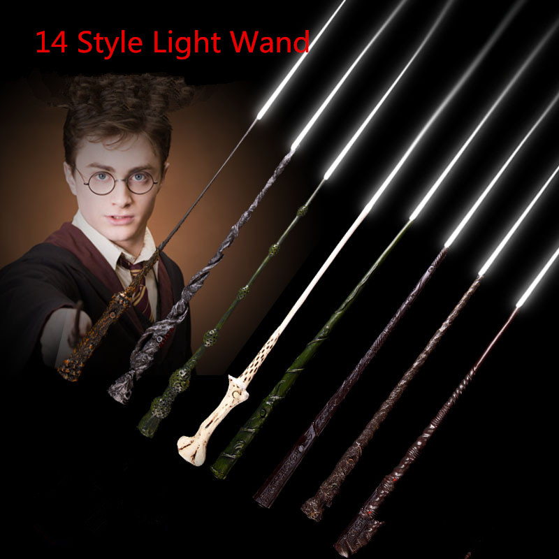 High Quality Deluxe COS Harry Hermione Magical Wand LED Light Flashing/Black Gift Box Wizarding World Free Train Ticket