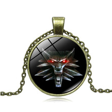 Anime Jewelry with Bronze Plated Glass Cabochon  The Witcher Wild Hunt Pattern Choker Long Pendant Necklace for Men Women Gift