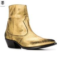 2019 FR.LANCELOT Gold Genuine Leather Ankle Chelsea Men Boots Harness Wyatte Zipper Men shoes Big Size 45 46