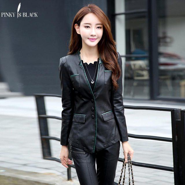 PinkyIsBlack spring and autumn women leather jacket female slim blazer suit leather coat women casual motorcycle jacket female 1