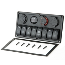 Neueste 2 USB Stecker Micro Aluminium Kfz-ladegerät Zigarettenanzünder Stecker Kippschalter Panel + Wasserdichte LED Spannung