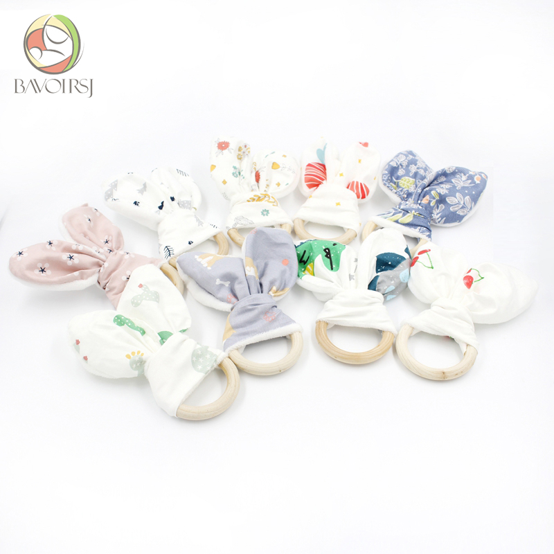 5pc Wooden Ring Cotton Fabric Teether Toys Printing DIY Handmade Ring Paper Bunny Ear Rattle Toys Wooden Teething Toy T0100