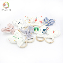 5pc Wooden Ring Cotton Fabric Teether Toys Printing DIY Handmade Paper Bunny Ear Rattle Teething Toy T0100