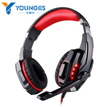 2017 popular YG-G8580 3.5mm gaming game headset with a microphone LED light notebook computer tablet PC / PS4 / mobile phone