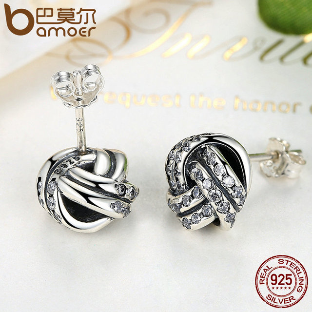 Sterling Silver Sparkling Love Knot Weave Jewelry Set