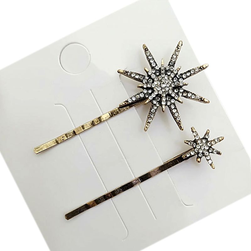 1 Set Women Metal Alloy One Word Bobby Pins Glitter Rhinestone Star Heart Arrow Vintage Jewelry Hair Clips in Women 39 s Hair Accessories from Apparel Accessories