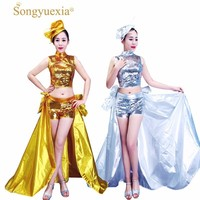 SONGYUEXIA New Women Modern Jazz Dance Set Top+Skirt Cheerleading Performance Stage Sequins Skirts Girls Dance Wear Costumes