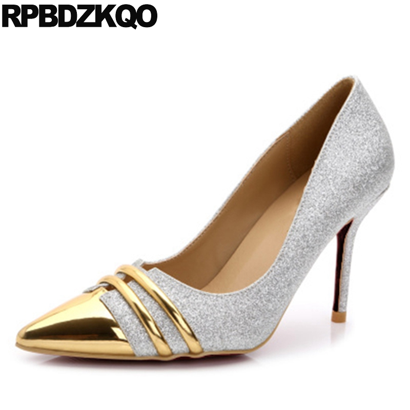 Glitter High Heels Shoes Pumps Ladies Pointed Toe 3 Inch Metal Plus Size Stiletto Silver 2017 4 34 Sequin Brand Footwear New new 2017 spring summer women shoes pointed toe high quality brand fashion womens flats ladies plus size 41 sweet flock t179
