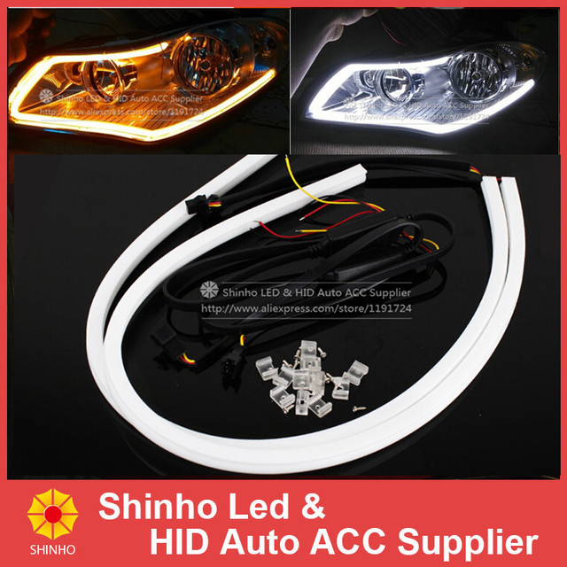 Daylight Strip Lights Super bright blue white amber yellow 60cm led strip daylight running super bright blue white amber yellow 60cm led strip daylight running lights lamp flexible diy switchback audiocablefo