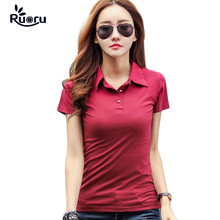 Ruoru Summer Fashion Polo Shirt Women New Casual Short Sleeve Slim Polos Mujer Shirts Tops Plus Size Female Cotton