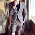 2017 Envmenst Brand Designed Black Gray Business Cotton 2 Sets Suits Blazer+Shorts Casual Single Button Slim Fit Wedding Dress