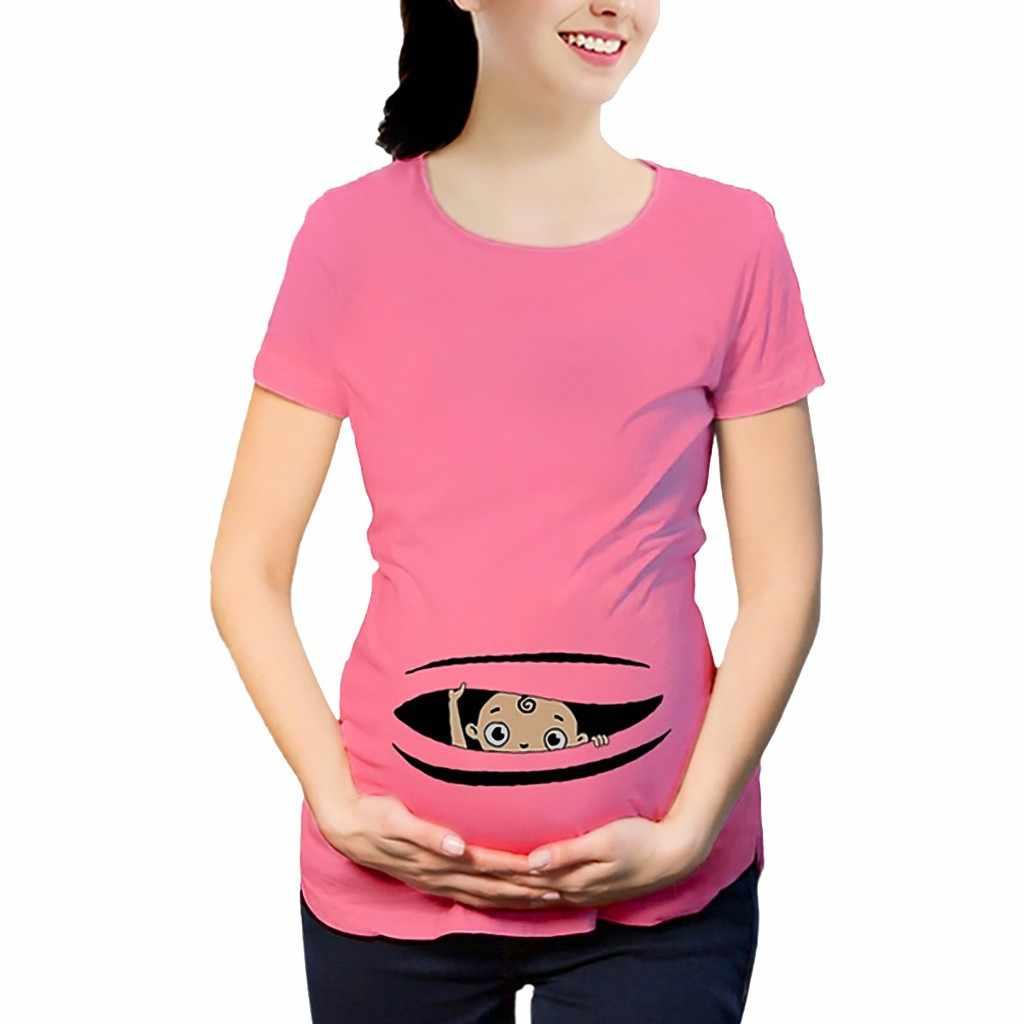 Camiseta de embarazo de mujer Maternidad de manga corta de impresión de camiseta de embarazada de dibujos animados gráfica de Maternidad Ropa lactante camiseta de Maternidad