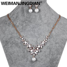 WEIMANJINGDIAN Elegant Floral Design Rose Gold Color Cubic Zirconia and Shell Pearl Bridal Necklace and Earring Jewelry Set(China)